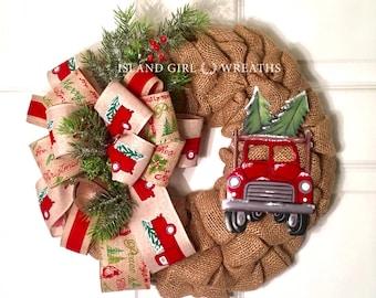 Red Truck Wreath, Burlap Red Truck Wreath, Christmas Wreath For Front Door, Christmas Wreath