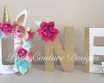 Unicorn Letters/ Unicorn First Birthday/ Unicorn Centerpiece/ Unicorn Photo Prop/ Unicorn Decorations/ ONE letters/ Unicorn flower backdrop