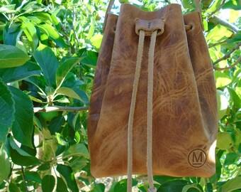 Wrinkled Leather Mini Bucket Bag