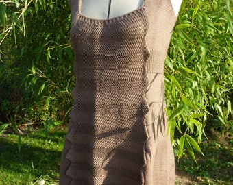Glossy Brown wool knitted tunic dress