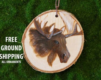 Moose ornament, birch ornament, Christmas ornament, Moose decor, rustic ornament, Moose painting, birch tree ornament,Moose wall hanging