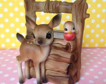 Deer planter, cardinal planter, Enesco deer planter, deer figurine, wishing well planter, Bambi, fawn, red bird, 1950's, kitsch, Japan