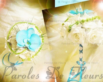 Bouquet of roses and orchids, ivory or white to customize