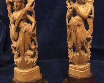 Pair of Carved Indian/Hindu Krishna/Shiva figures.