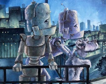 City Night Bots robot painting print
