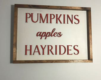 Laser Cut Sign. Pumpkins Apples Hayrids Laser Cut Sign. Home Decor. Stained Edge Sign. Fall Decor. Pumpkin Sign. Fall Sign. Fall Decor