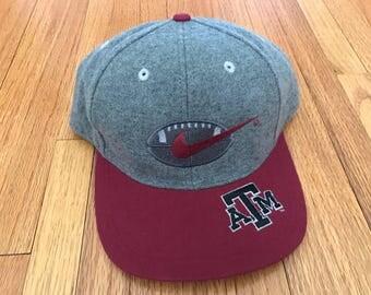 Vintage 90s Nike Texas A & M Football Melton Wool Snapback Hat