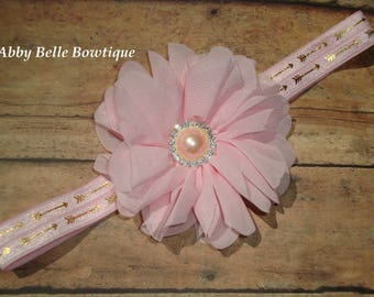 Girls Pink and Gold Headband,Gold Arrow Headband,Pink Flower Baby Hair Band,Shabby Hair Bow,Photo Prop,Stretch Headband, Hair Accessory