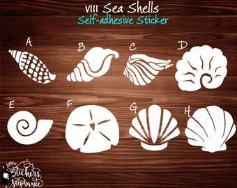 v111 WHITE Vinyl STICKER Sea Shells Junonia Nautilus Sandollar Conch Vinyl Decal