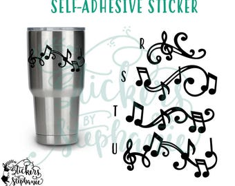 STICKER v17 Music Flourish Notes Vinyl Decal *Color Choice in Notes or BLACK Vinyl