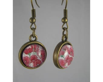 Boucles053 - Earrings poppy cabochon and bronze