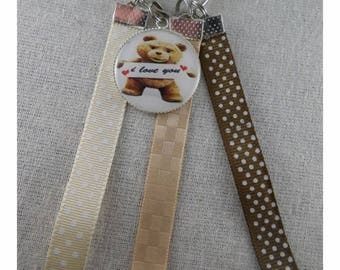 """Cle061 - Key """"I love you"""" Brown and beige"""