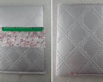 PorteCarte03 - Grey card holder and pink liberty