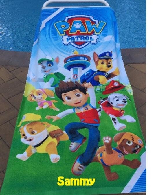 Personalized Paw Patrol Beach Towel: Paw Patrol Team With Ryder Beach Towel Personalized Beach