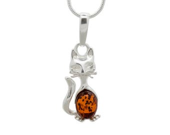 Silver Cat Necklace - Cat Necklace - Amber Cat Pendant - Amber Necklace - Amber Pendant - Amber Cat Necklace - Cat Jewelry -470P1