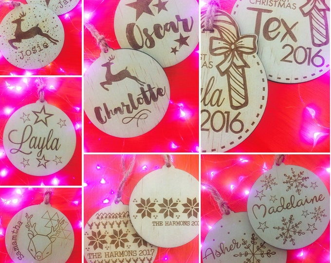 Personalised Christmas decorations. Christmas baubles. My first Christmas. Christmas in July Sale