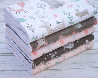 Baby Burp Cloths Set of 5, Baby Gift, Baby Shower, Newborn Burp Cloths, Baby Burpcloths, Woodland Burp Cloths, Bibs and Burping