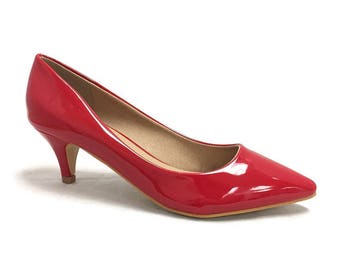 Red Patent Low High Heel Pumps