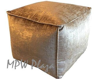 NEW COLLECTION-Velvet  Moroccan Pouf/Ottoman (Champagne)