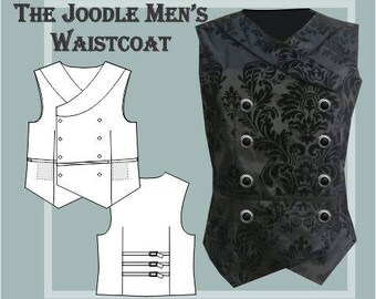 The Joodle Men's waistcoat PRINTED sewing pattern