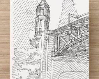 Ink Sketch of Montlake Bridge in Seattle, Washington