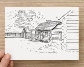 Ink Sketch of old cabins at Rainbow Lodge in Whistler, British Columbia - Drawing, Art, Pen and Ink, Log Cabin, Canada, 5x7, 8x10, Print