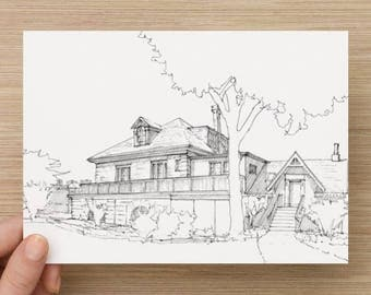 Ink sketch of the Fairmount Boathouse on Boathouse Row in Philadelphia, Pennsylvania - Drawing, Art, Architecture, Pen and Ink, 5x7, 8x10