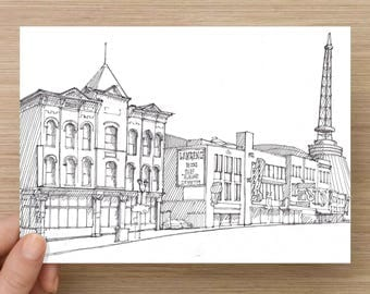 Ink Sketch of Music Row in Nashville, Tennessee - Drawing, Art, Architecture, Urban Sketcher, Country Music, 5x7, 8x10, Print