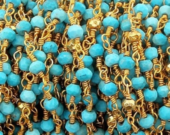 MEGA SALE Turquoise & Gold Pyrite 3mm Rosary Style Beaded Chain - Beads 24k Gold Plated Wire Wrapped Chain BD379