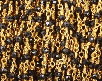 Valentine Day 5 FEET Black Spinel 2.5mm-3mm Rosary Style Beaded Chain -Black Spinel Beads wire wrapped 24k Gold Plated Chain BD026