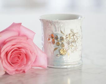 Vintage Pale Blue and Gold Floral Cup