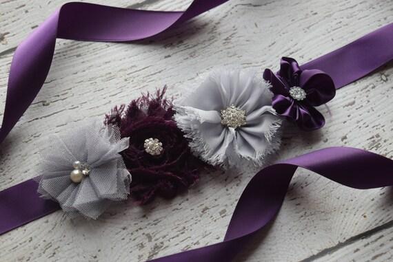 Flower Sash,  small plum grey  Sash , flower Belt, maternity sash, wedding sash, maternity sash girl, flower girl sash