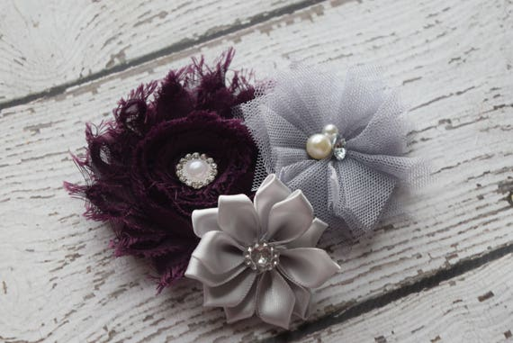 Plum  grey Flower Baby clip, Newborn clip,  Infant Headband,Baby Headband, Headband Baby, Baby Headband, baptism  headband