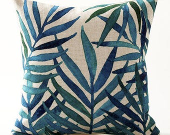 On sale! Decorative pillow cover/tropical leaves cushion cover/watercolor pillow throw/pillow sham