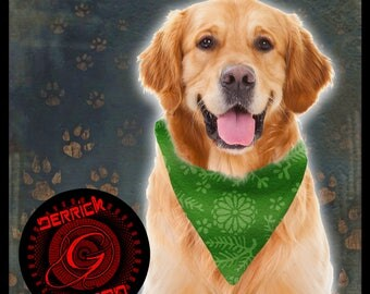 Dog Bandana with Beautiful Green Floral and Nature Print  | Great for Christmas or St. Patrick's Day | Pet Handkerchief | Pet Gifts