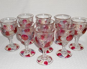 Westmoreland Della Robbia Water Goblets Glasses  Flashed Stained Glass ~ Set of 9