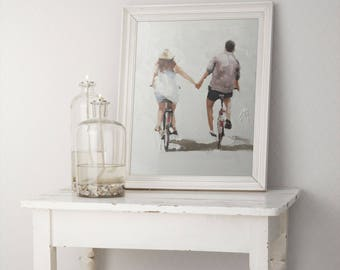 Cycling Couple Painting Couple on Bicycles Art PRINT - Love Art Print -  from original painting by J Coates