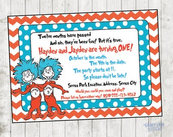 Thing 1 and Thing 2 Printable Twin Birthday Party Invitation, Thing 1 and Thing 2 Invite, Twin Invite, 1st birthday, Twin birthday, dr seuss