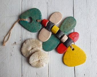 "Ceramic pendant, mobile ""Fish"" art ceramics, decor for interior, original gift, housewarming gift, ceramics Raku, art, ceramic beads, marine"