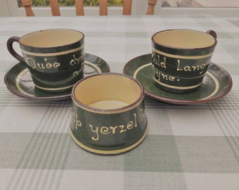 Pair of Longpark Torquay Mottoware Cups & Saucers Plus Sugar Bowl -Green