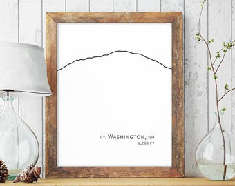 Mt Mount Washington White Mountains New Hampshire Poster Minimalist Art Hiking Decor Black Large Printable Wall Art Print Digital Download