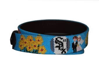 Wedding Theme Needlepoint Belts....for the groom or bridal party gifts