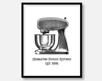 "CUSTOMIZED Kitchen Decor Pictures, Kitchen Mixer, Vintage Sketchbook Design,  5x7"" 8x10"" 11x14"" avail., DIGITAL PRINTABLE File. Vintage Art"