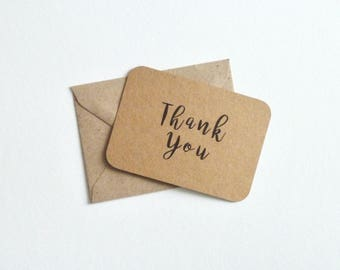 Mini thank you pack a7 kraft postcards rounded corners and c7 envelopes rustic recycled eco small notes blank set 10