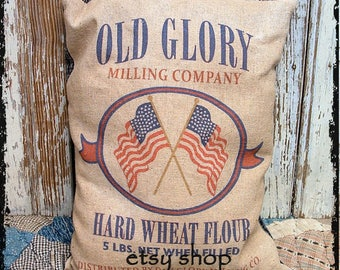 Primitive Patriotic Old Glory Wheat Feedsack Type Pillow or Panel