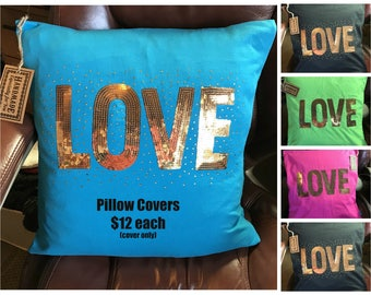 LOVE sequin pillow cover, jersey knit fabric, envelope style pillow cover, 20 inch pillow