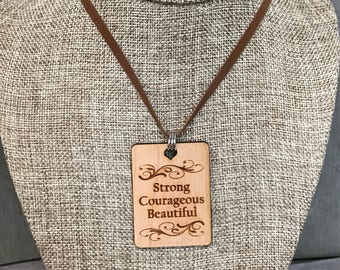 Strong Courageous Beautiful Necklace, Group Gift Ideas, Group Discounts, Wedding Gifts, Laser Engraved, Bursting Barns Designs
