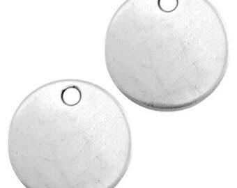 DQ Gravurplättchen, blank pendant-1 piece-Antique silver-Zamak-Ø selectable (Ø:: 15 mm)