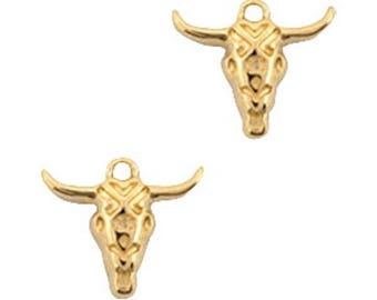 DQ Metal Pendant Buffalo head-1 piece-19 x 16 mm-Zamak-color selectable (color: Gold)