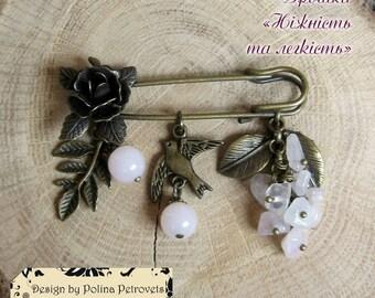 Rose Quartz  brooch pin Safety pin Roze Bronze pin Bronze quartz brooch Bird brooch Flower pin jewelry Brooch gift Rose gemstone brooch